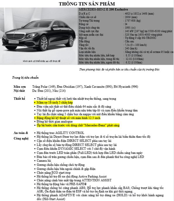 Thông số kỹ thuật Mercedes E200 Exclusive 2021
