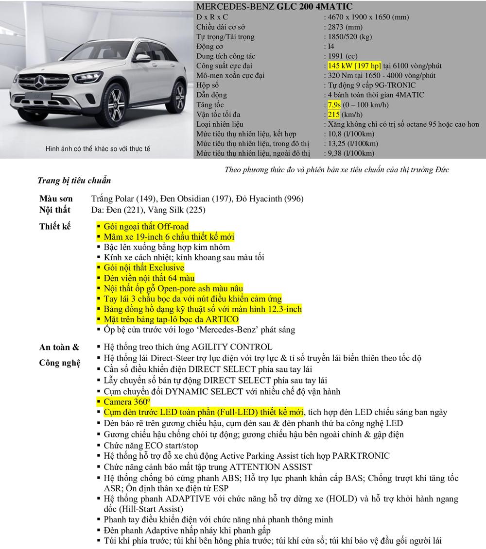 Thông số kỹ thuật Mercedes GLC 200 4Matic mới nhất
